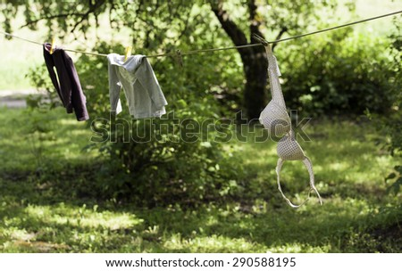 Clothes drying on a rope outdoors