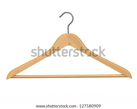 Clothes hanger on white isolated  background. 3d - stock photo