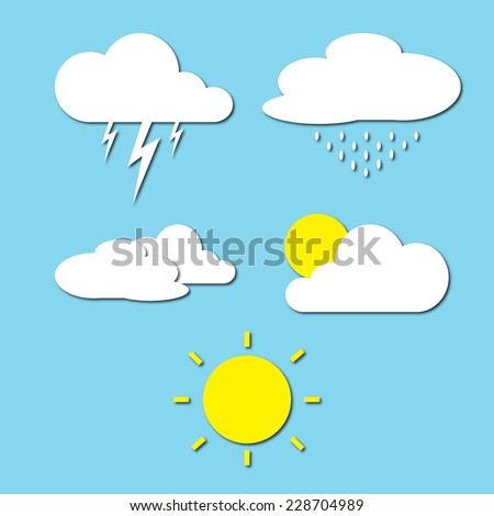 clouds weather collection on blue sky background - stock photo