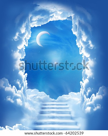 cloudy night sky with a stair towards the christmas moon - stock photo