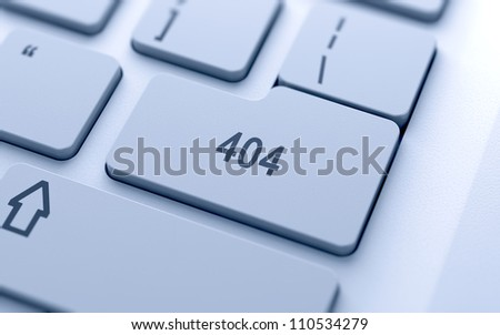 404 code button on keyboard with soft focus - stock photo
