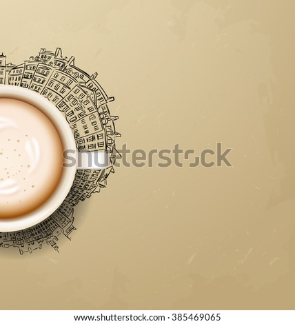 . coffee break. Hot Coffee cup on city . latte it`s coffee time. illustration of Planet earth traveling around the world concept and city skyscrapers - stock photo