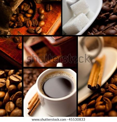 Coffee collage with black background - stock photo