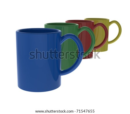 4 coffee mugs in different colors - stock photo