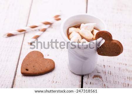 Coffee with milk and marshmallows - stock photo
