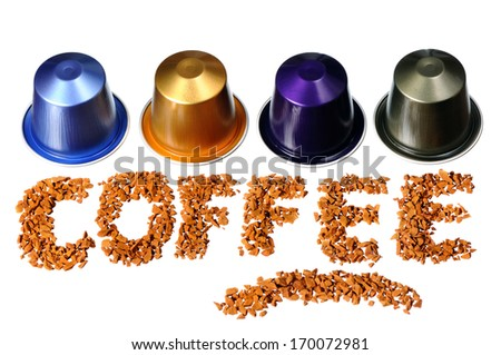 """""""Coffee"""" word written by coffee beans and capsules isolated on white background - stock photo"""
