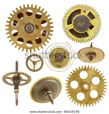 cog wheels - gears - on white background - stock photo