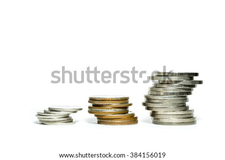 3 Coin photo.Three stacks of coin isolate on white background. Coin groups for save money.Pile Thailand Coin groups - stock photo