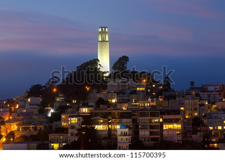 'Coit Tower' by night.  San Francisco in California, USA - stock photo