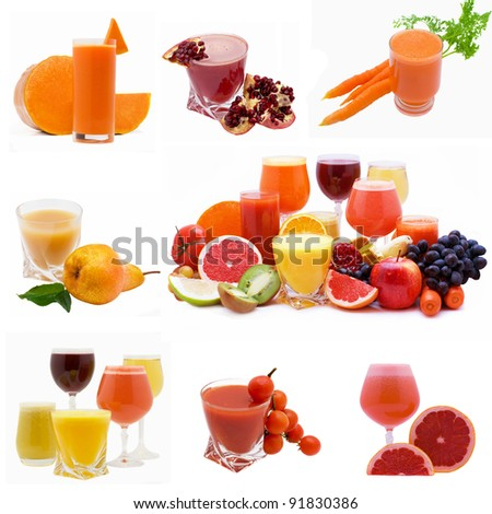 Collage from glasses of fresh juice different fruit - stock photo
