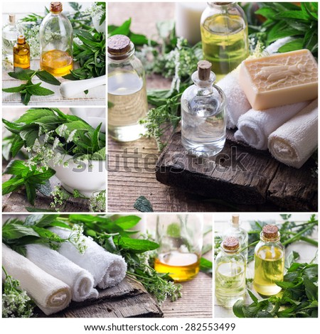 Collage from photos with spa or wellness setting. Essential aroma oil, towels, soap on aged  wooden background. Selective focus.  - stock photo