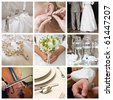 collage of nine wedding photos - stock photo