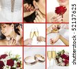 Collage of several photos for wedding theme - stock photo