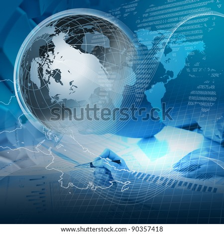 collage with financial and business charts and graphs - stock photo