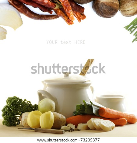 Collage with spices,vegetable and herbs on white background - stock photo