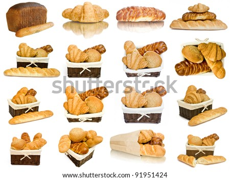 collection bread  fresh rolls in a basket isolated on whitete. food - stock photo