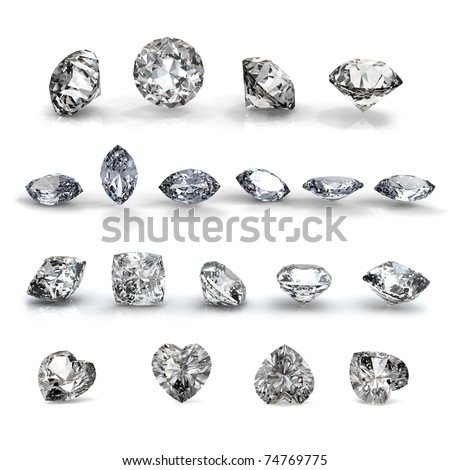 Collection brilliants shape of heart, round, Marquis and square  on white background - stock photo