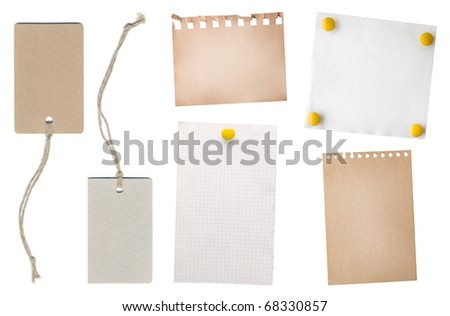 collection note paper and tag isolated on white - stock photo