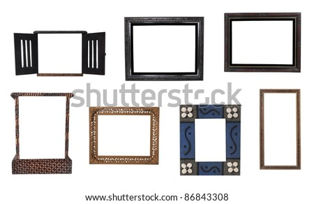 collection of antique wooden frame isolated on white background - stock photo