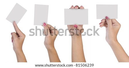 Collection of blank cards in a hand isolated on white background - stock photo