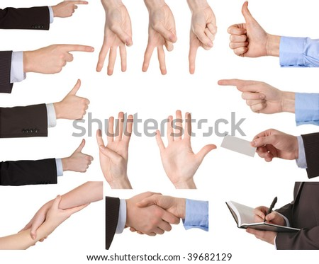 Collection of hands showing gestures Isolated over white background. - stock photo