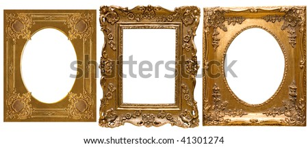 Collection Picture gold frame with a decorative pattern - stock photo