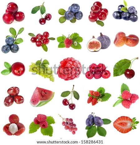 Collection set of fresh ripe fruits berries close up sign  objects isolated on white background - stock photo