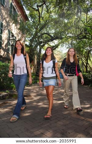 3 College Girls - stock photo