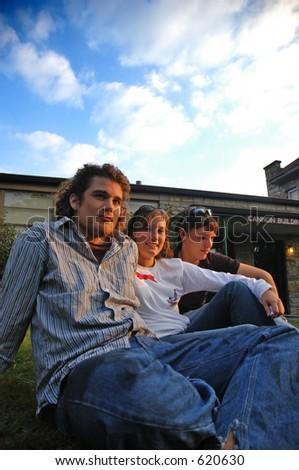 3 college students - stock photo