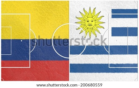 colombia vs uruguay championship 2014, football field textured by national flags - stock photo