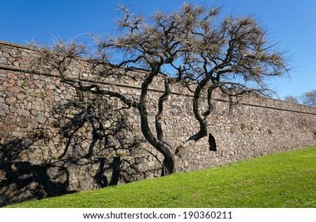 Colonia del Sacramento, Uruguay. The historic quarter is an UNESCO World Heritage Site. Fortress Wall  - stock photo