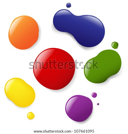 6 Color Blobs, Isolated On White Background - stock photo