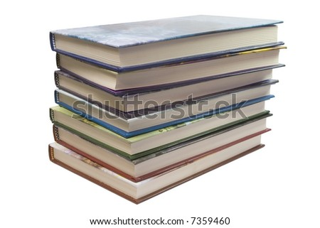 7 color books stack on white background - stock photo