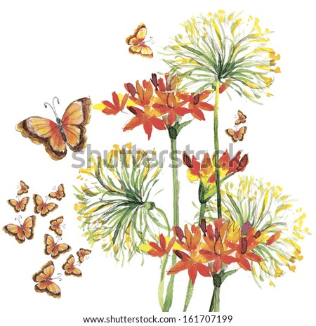 Color illustration of the flowers  in watercolor paintings - stock photo