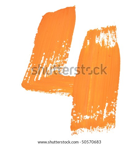 4 - Color numbers isolated over the white background - stock photo