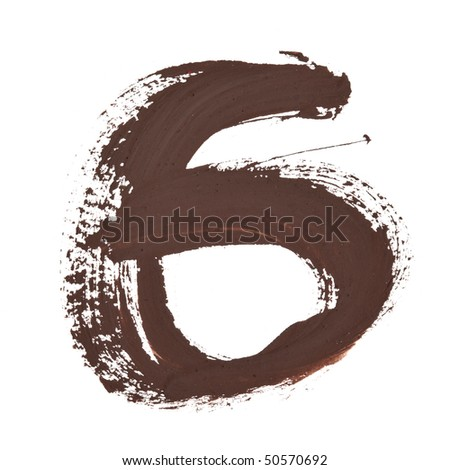 6 - Color numbers isolated over the white background - stock photo