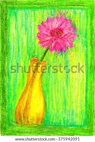 Color Pencil Vase Flower Stock Illustration 375942091 Shutterstock