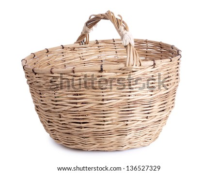 Color photo of an old wicker basket - stock photo