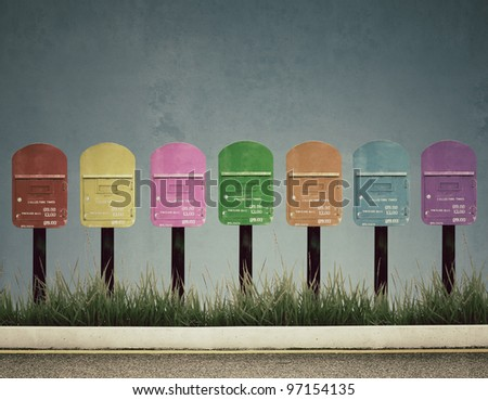 7 color postbox, vintage photo style - stock photo