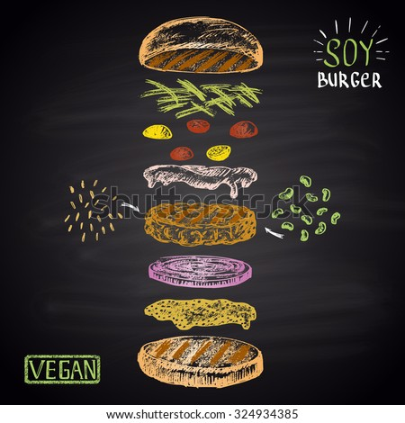 Colored chalk drawn illustration with ingredients of vegan burger (soybean, brown rice). No meat! - stock photo