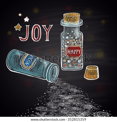 Colored chalk drawn winter illustration with two little glass jars and Confetti-Stars. Happy New 2016 Year Theme. Holidays collection. Card design. - stock photo
