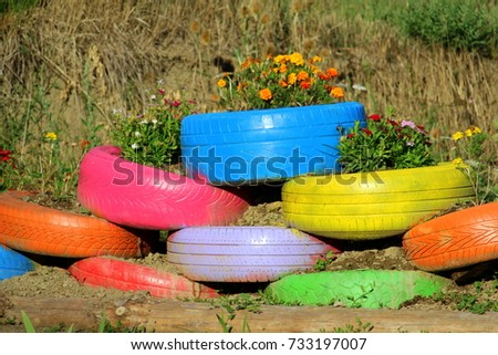 Colored Green Planters Made From Recycled Tires