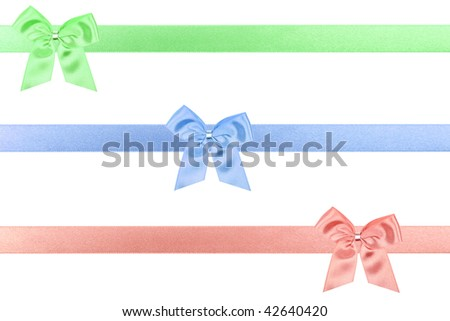 3 colored holiday bow perfectly isolated on white background (very easy to cut out) - stock photo