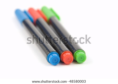 3 colored marker pens - stock photo