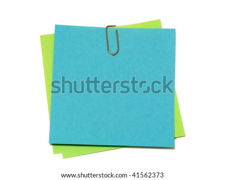 Colored notes paper isolated on white - stock photo