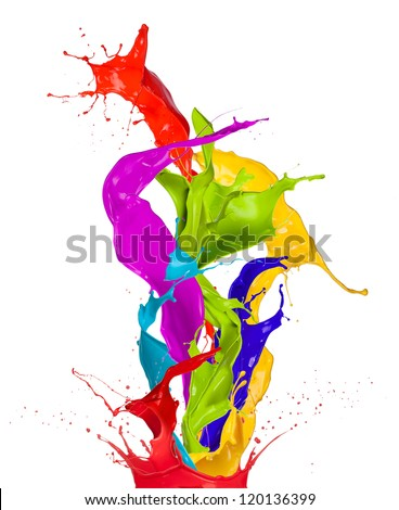 Colored paint splashes isolated on white background - stock photo