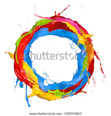 Colored paints splashes circle, isolated on white background - stock photo