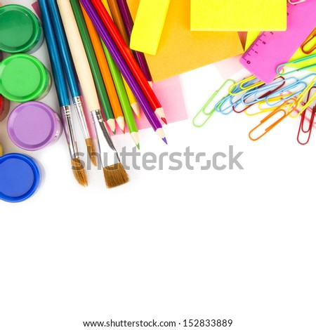 colored pencils, back to school concept surface with copy space over white background
