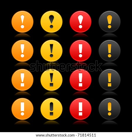 16 colored round warning sign web 2.0 button with exclamation mark on black background. Bitmap copy my vector ID: 63698446 - stock photo