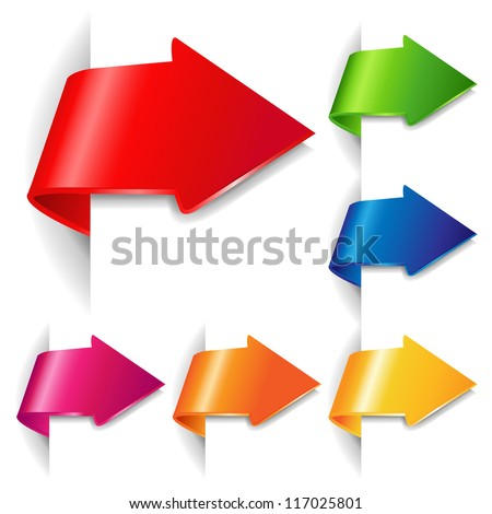 6 Colorful Arrows, Isolated On White Background With Gradient Mesh - stock photo